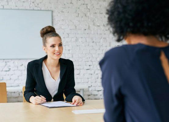 Recruiter asking questions - job interview concept